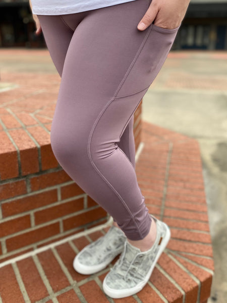 Frosted Mulberry Compression Legging with Side Pocket