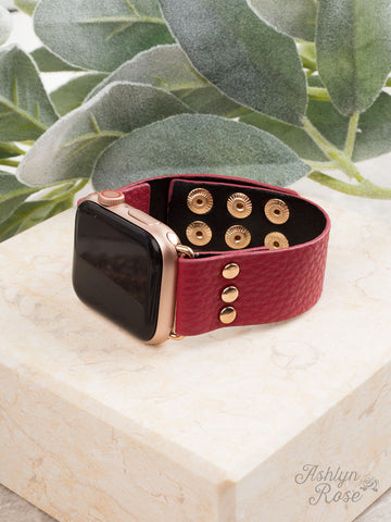 Red 38/40 Leather Smart Watch Band