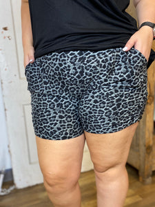 Black Leopard Harem Shorts