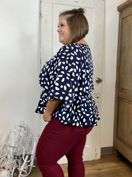 Navy Dalmation Peplum Blouse (Sizes 16+)