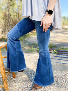 Medium Wash Mid Seam Flare Jeans - Judy Blue