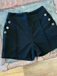 Black Shorts with Button Detail