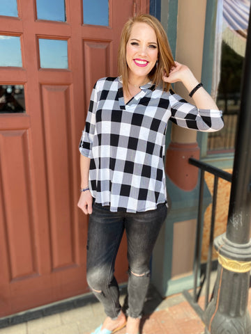 Black & White Plaid Gabby Top with 3/4 Sleeves