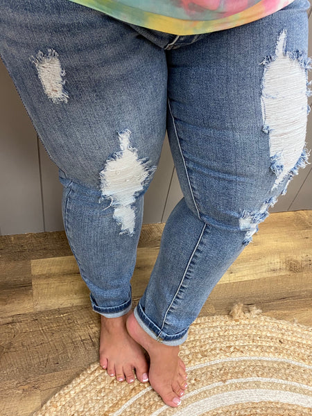 Light Wash Destroyed Relaxed Fit Jeans- Judy Blue