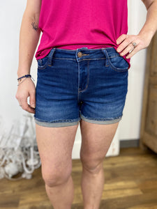 Dark Wash Cuffed Hem Shorts - Judy Blue