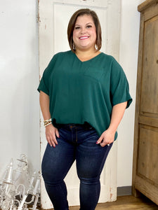 Hunter Green Oversized Linen Blouse