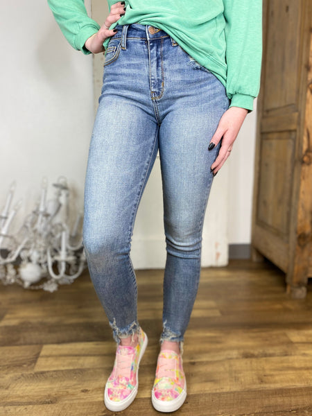 Destroyed Hem Non Distressed Skinny Jeans- Judy Blue