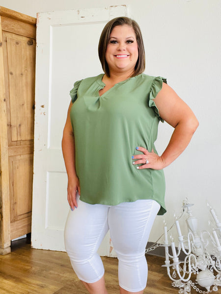 Fern Green V Neck Blouse with Ruffle Sleeves