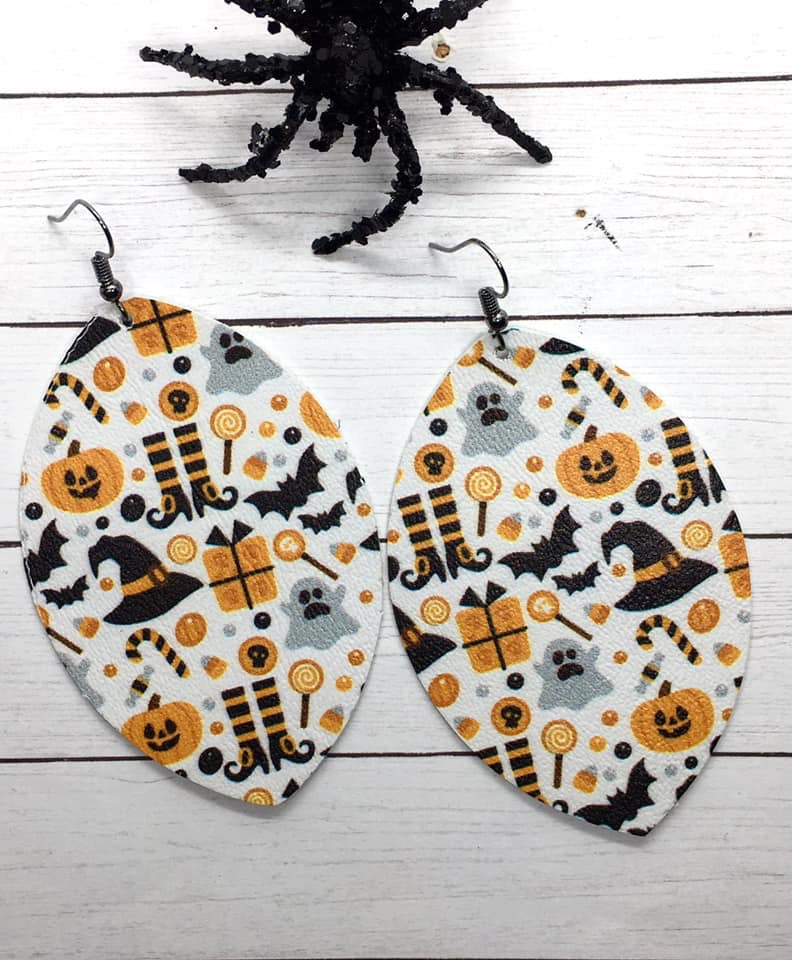 """ Trick or Treat "" Faux Leather Large Oval Earrings"