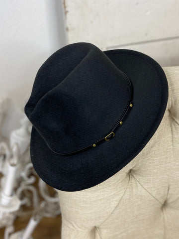Black Wool Buckle Trim Fedora Hat
