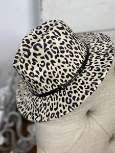 Beige Leopard Wool Buckle Trim Fedora Hat