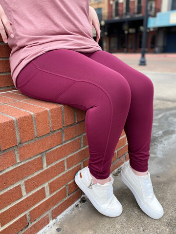 Burgundy Compression Legging with Side Pocket