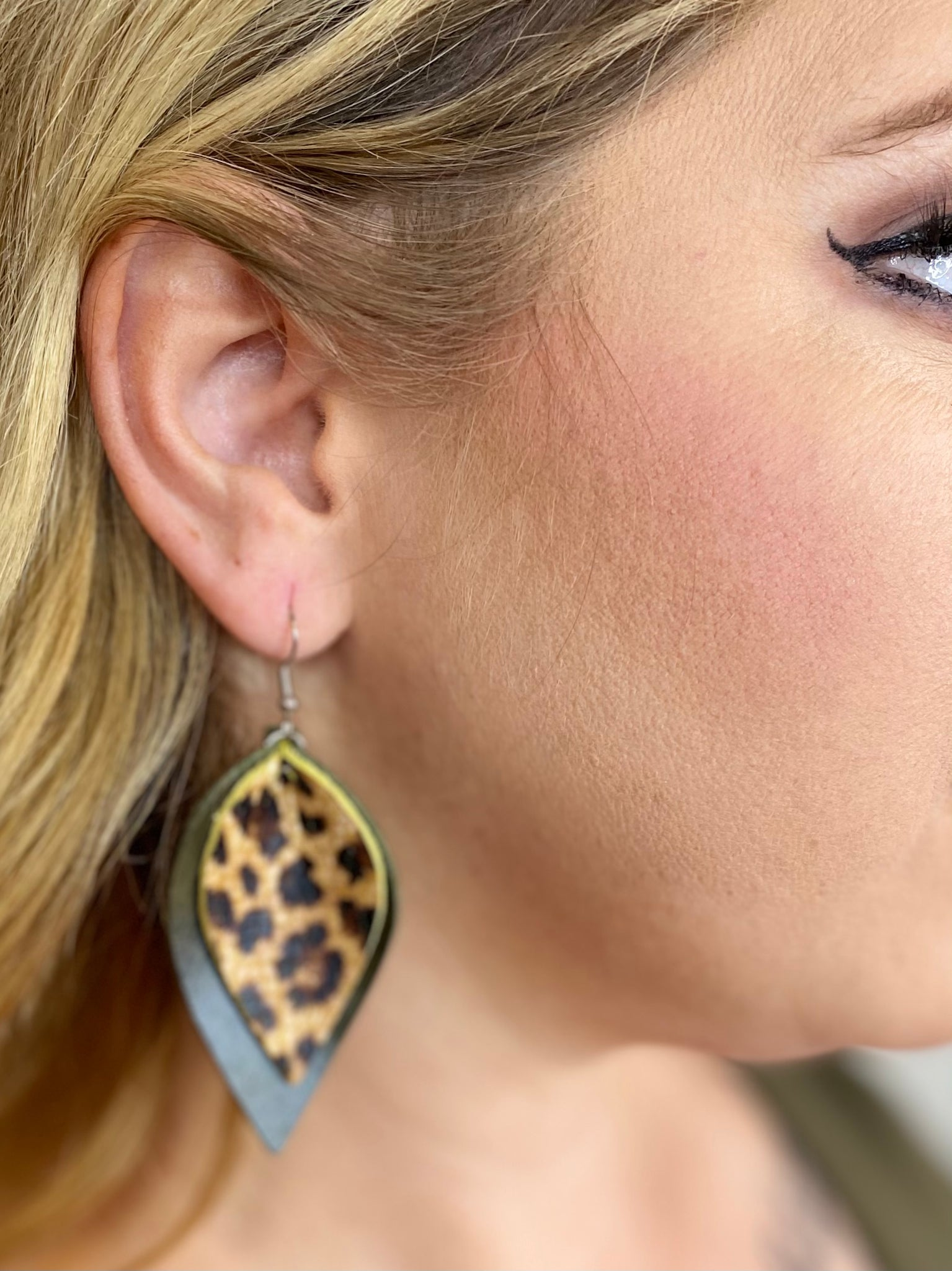 Olive & Leopard Layered Earrings
