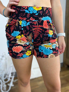 Black Colorful Floral Harem Shorts