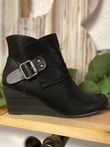 Black Baldwin Wedge Ankle Bootie