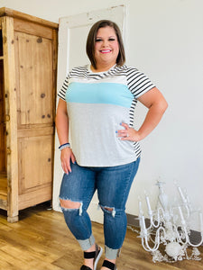 Blue Striped Colorblock Top