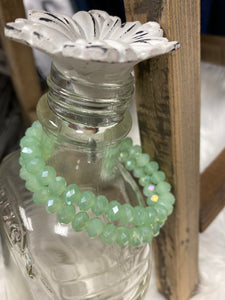 1 Strand Beaded Bracelet, Translucent Sea Green