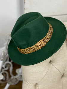 Wool Brim Hat with Leopard Accent  - Olive