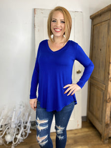 Royal Basic V Neck Top with Long Sleeves