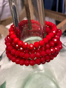 1 Strand Beaded Bracelet, Candle Apple Red