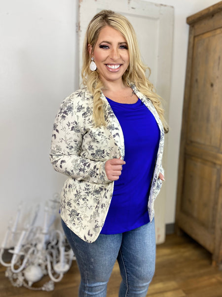 Ivory Floral French Terry Blazer