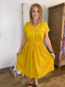 Mustard Waist String Shirt Dress