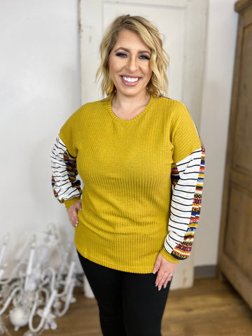 Back Me Up Waffle Knit Top , Mustard and Aztec