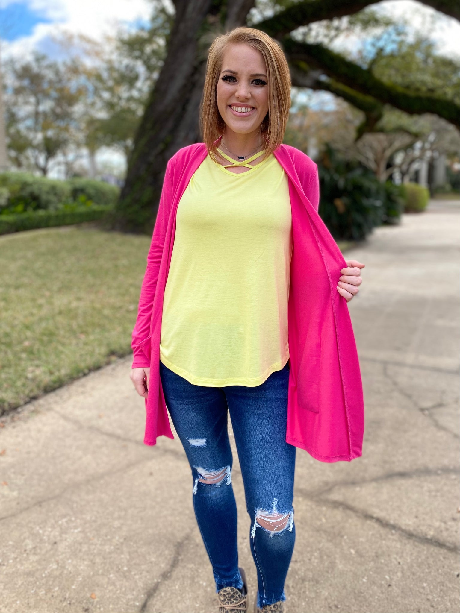 Canary Yellow Criss Cross Top