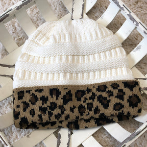 Leopard Trim Ponytail Beanie (5 colors)