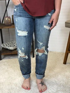 JB Bleach Splash Boyfriend Jeans