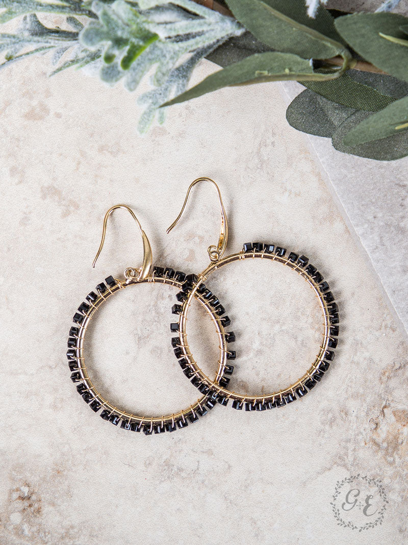 Small Black Beaded Hoop Earrings, Gold