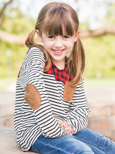 Girls Striped Blouse with Buffalo Plaid Accent
