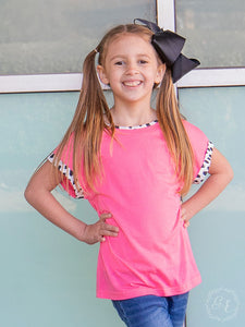 Girls Standout Style Pink Top with Dalmatian Print Accents & Back Bow - PRE ORDER (Arrives in approx 4 days)