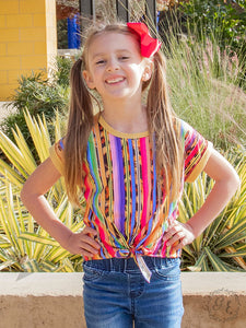 Girls Simply The Best Bright Serape & Leopard Tie Front Tee - PRE ORDER (Arrives in approx 4 days)