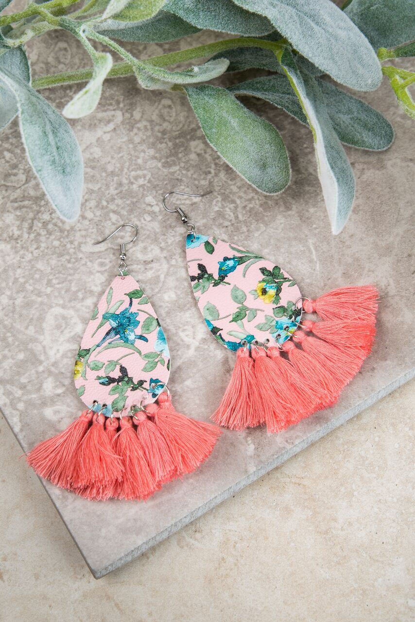 First Day of Spring Floral Earrings, Coral