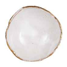 Md White Glossy Bowl With Gold Rim