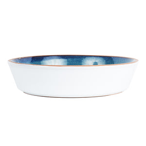 Lg Blue Bowl With White Exterior And Brown Rim