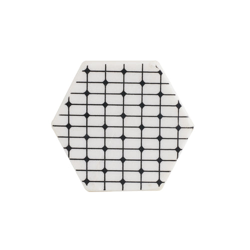 White Hexagon Marble Coaster With Black Dots