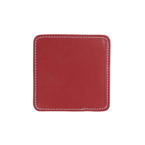 Double Sided Maroon and Cream Leather Coaster