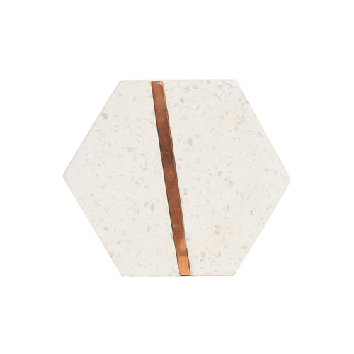 Hexagon Marble Coaster With Copper Detail