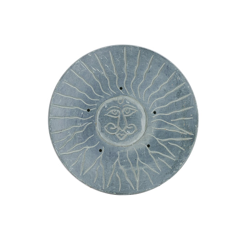 Grey Stone Coaster With Sun Design