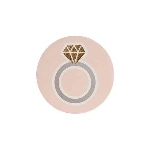 Pale Pink Ring Paper Coaster
