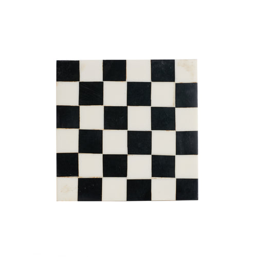 Black And White Checkered Coaster