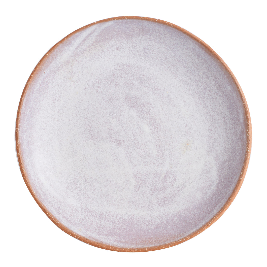 Md Pink And White Plate With Brown Speckled Bottom