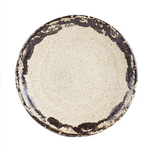 Lg Cream Plate With Brown Rim And Speckles
