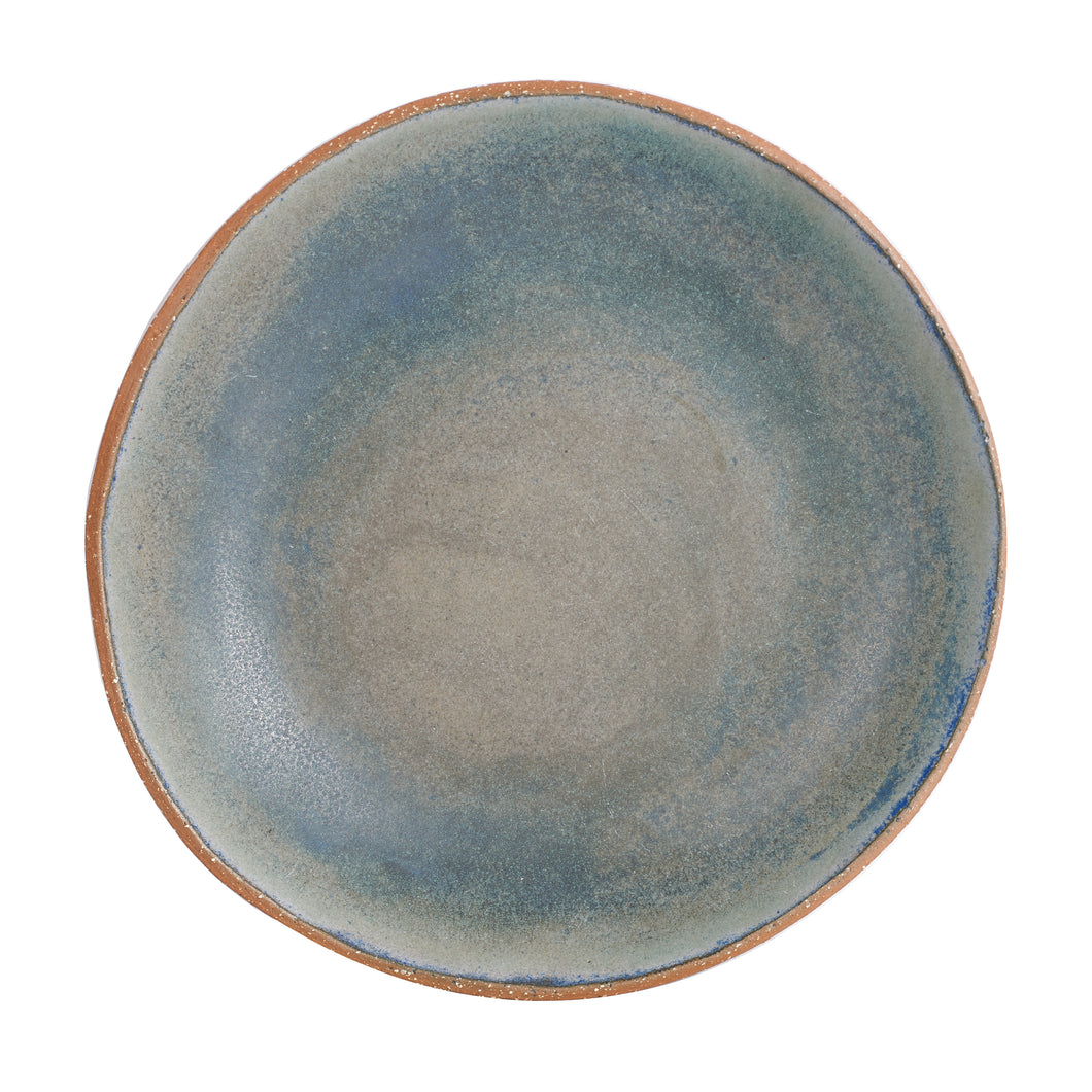 Md Blue And Grey Plate With Brown Speckled Rim And Bottom