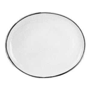 Light Grey Platter With Black Rim
