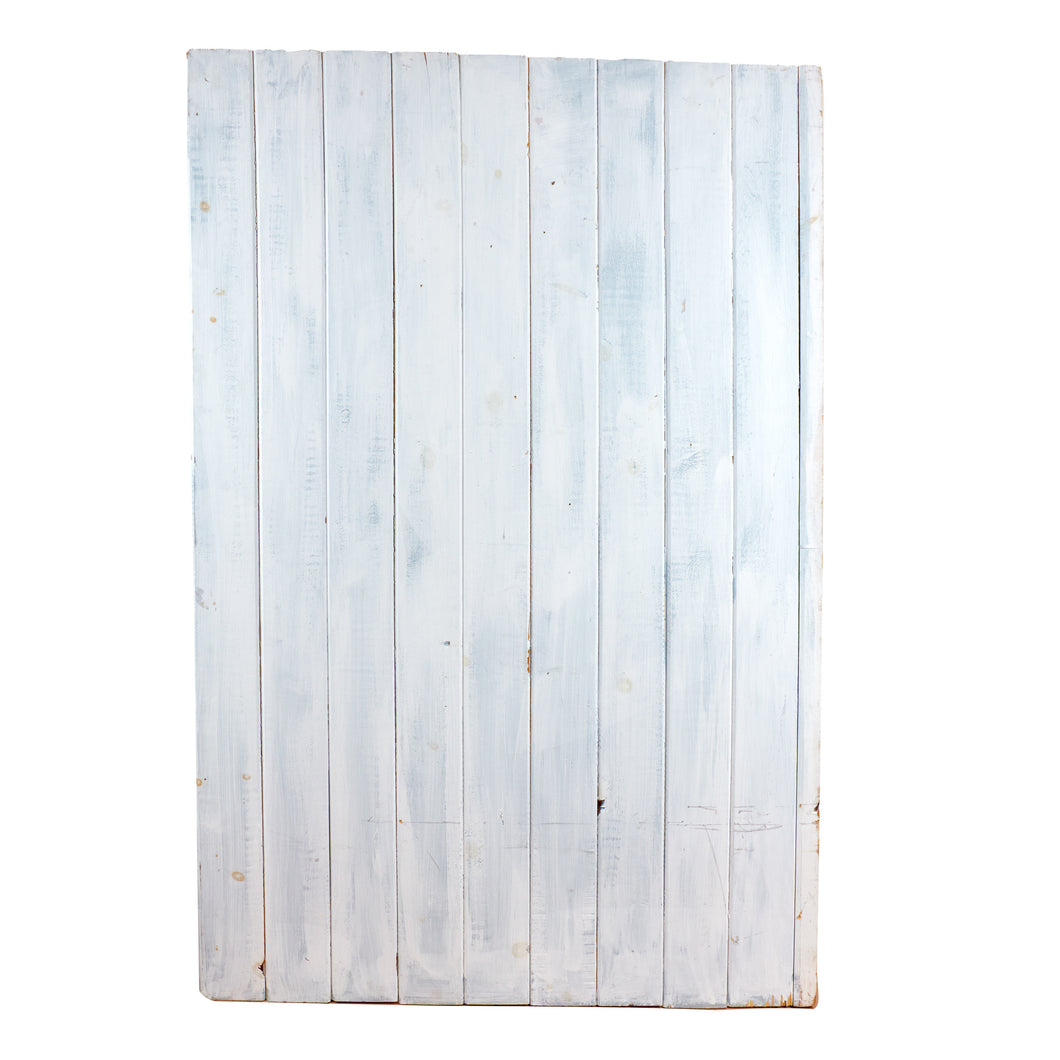 Lg White Slatted Wood With Grey Highlights