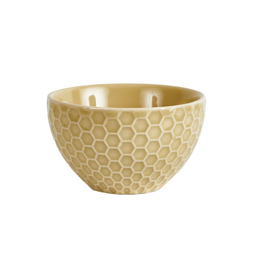 Sm Beige Hexagon Patterned Bowl