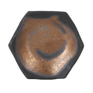 Sm Black Hexagon Dish With Bronze Design